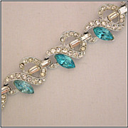 Sea Blue & Crystal Rhinestone Bracelet