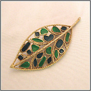 Florenza Blue & Green Enamel Leaf Pin