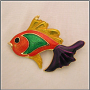 Whimsical Figural Enamel Fish Pin