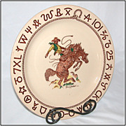 Wallace China Rodeo 10  Plate, Designed by Till Goodan c1940s