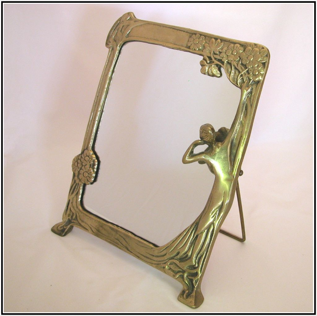 Vintage Art Deco Table Mirror, Lady Admiring Her Reflection