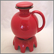 SOLD Vintage Frankoma Flame Red-Orange 3pc Carafe Set