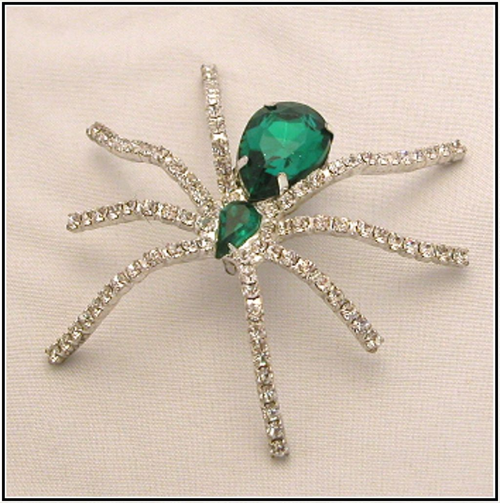 Vintage Green & Crystal Rhinestone Spider Pin