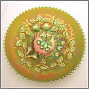 Northwood Three Fruits Green 9� Plate, Carnival Glass