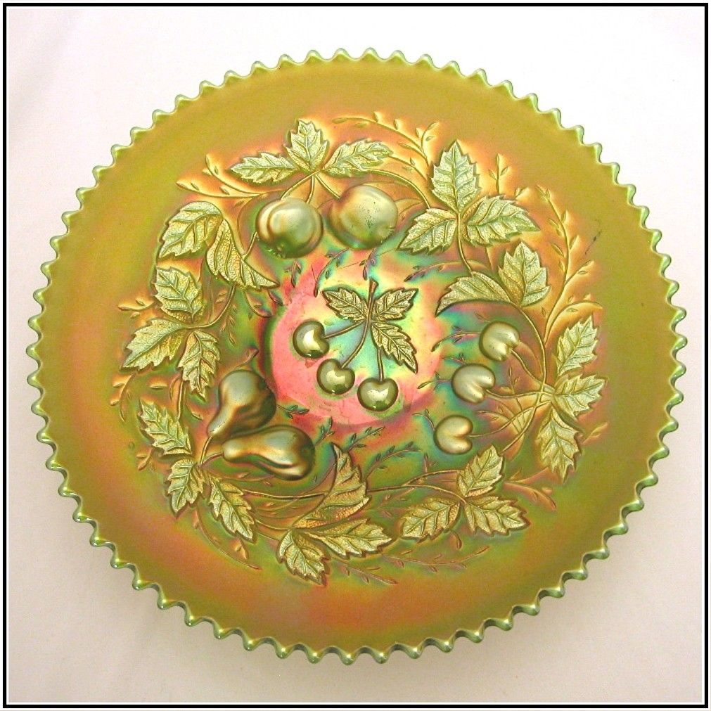 "Northwood Three Fruits Green 9"" Plate, Carnival Glass"