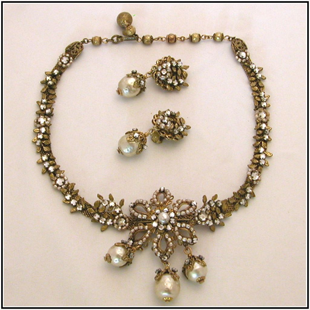 Signed Miriam Haskell Simulated Baroque Pearl & Rhinestone Necklace & Earrings