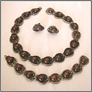 Vintage c1950s Margot de Taxco Sterling Silver & Copper Necklace, Bracelet & Earrings Parure