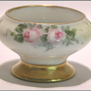 c1900 O & E G Royal Austria Hand Painted Floral Open Pedestal Salt Dip