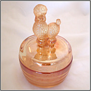 Jeannette Glass French Poodle Marigold Powder Jar