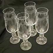 4 Bohemian Crystal Etched Champagne Flutes, Cascade Etching