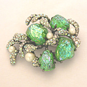 Schiaparelli Green Lava Rock, Aurora Borealis Rhinestones & Faux Pearl Broach Pin