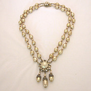 Vintage Miriam Haskell Faux Baroque Pearl & Rhinestone Necklace & Earrings Parure