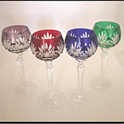 4 Vintage Ajka Caroline Cut to Clear Bohemian Hock Goblets, Wine Glasses, Water Goblets