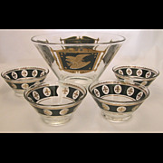 Vintage 5pc Salad Set, Salad Bowl and Single Serve Bowls, Eagle & Fleur de lis