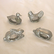 Set of 4 Pewter Figural Napkin Rings  Pig, Chicken, Duck, Rabbit
