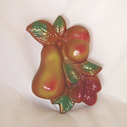 Vintage Chalkware Fruit Plaque, Pear, Peach