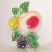 Vintage Chalkware Fruit Plaque, Apple, Plum, Grapes