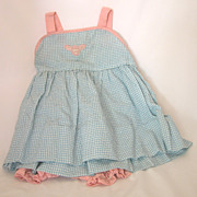 Vintage 2-pc Nannette Baby Set, Blue, White & Pink Seersucker Dress with Diaper Cover, Never W