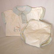Vintage Flannel 2pc Baby Set, Puppy Applique, for Baby or Doll