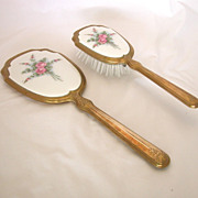 Vintage Guilloche Brush & Mirror Floral Vanity Set