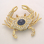 Kenneth Jay Lane KJL Crab Watch Pin, Faux Lapis Lazuli Stone