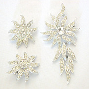 Dangling Rhinestone Pin Broach / Pendant & Earrings, Sarah Coventry