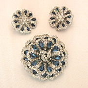 Weiss Sapphire Blue & Crystal Clear Rhinestone Pin & Earrings