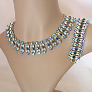 Blue & Aurora Borealis Rhinestone Bib Necklace & Wide Clasp Bracelet