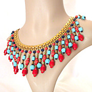 Signed Miriam Haskell Beaded Egyptian Revival Bib Necklace / Collar
