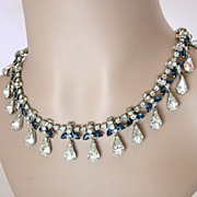 Signed Hattie Carnegie Sapphire Blue & Crystal Clear Rhinestone Necklace