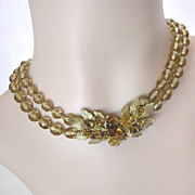 Signed DeMario Amber Rhinestone, Bead & Gilt Necklace