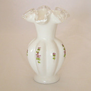 Vintage Fenton Hand Painted Silver Crest Vase