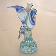 Blue & White Blown Glass Bird in Flight Figurine