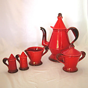 7pc Metlox Poppytrail Red Rooster Red Coffee Pot, Sugar & Creamer, Salt & Pepper