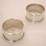 Antique Sheffield England Sterling Silver Napkin Rings, c1909 Matching Pair