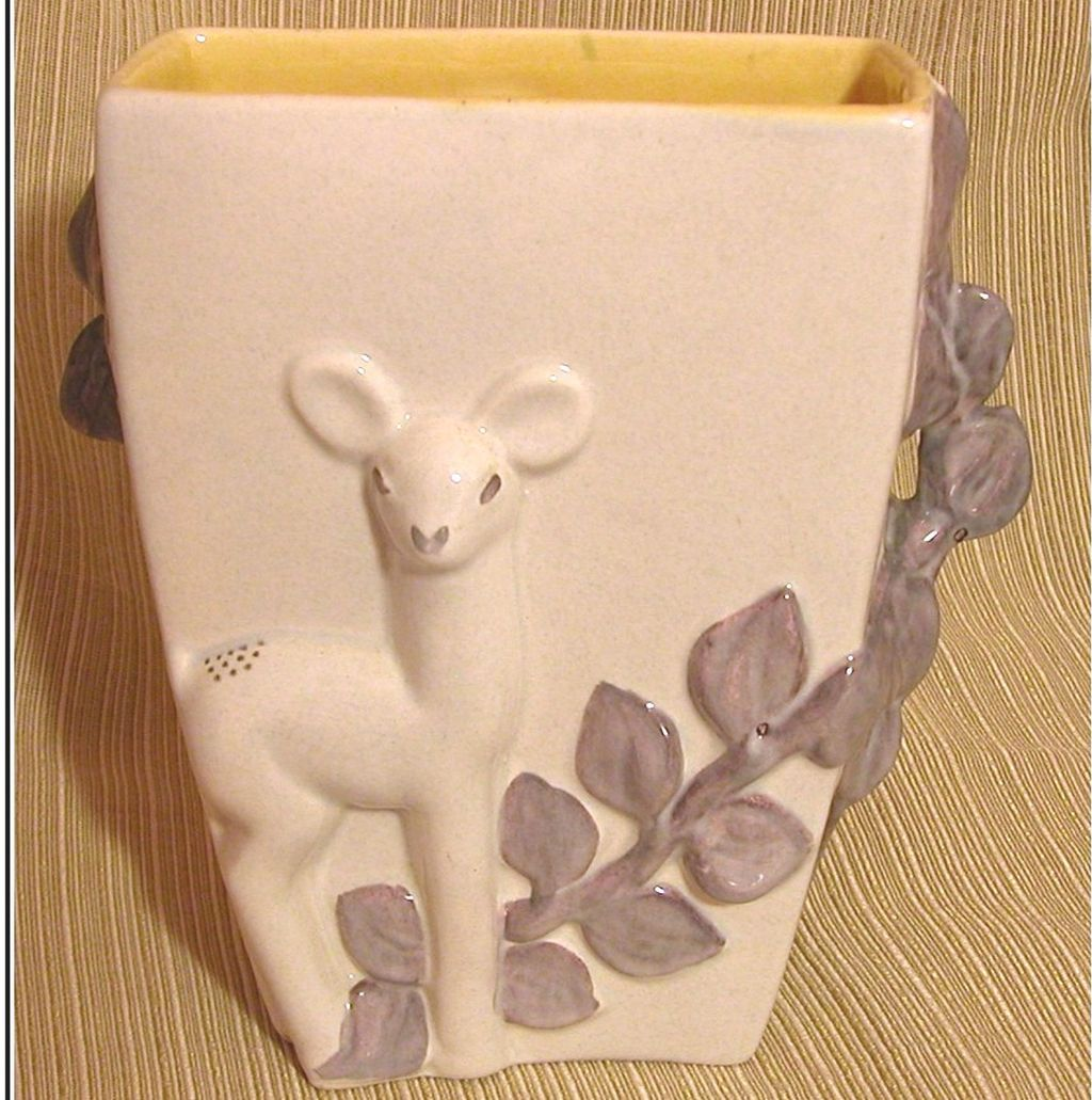 Red Wing Purple & Cream Deer Vase, Yellow Interior