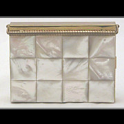 SOLD Vintage Volupte Mother of Pearl MOP Carryall with Black Carry Case, Swing-Lock Closure