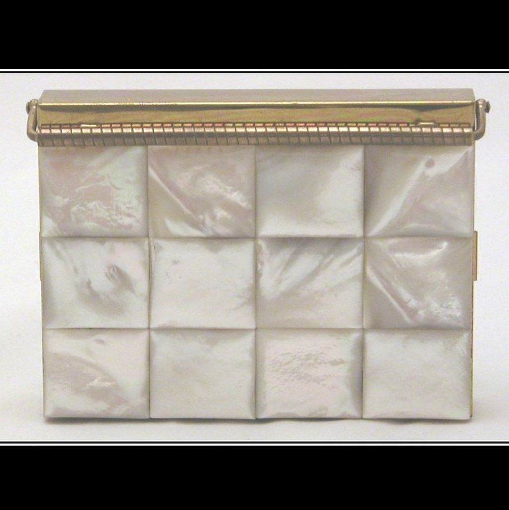 Vintage Volupte Mother of Pearl MOP Carryall with Black Carry Case, Swing-Lock Closure
