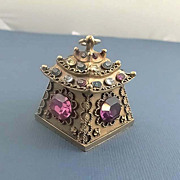 SALE Rare Vintage Trifari Jewelled Rhinestone Pagoda Pendant  Necklace