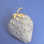 Early  K.J.L. Kenneth Lane Pave Rhinestone Strawberry Pin Brooch