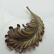 Large Vintage Joseff Of Hollywood Feather Pin Brooch