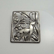 Vintage  Art Deco Sterling Silver Danecraft Deer Pin