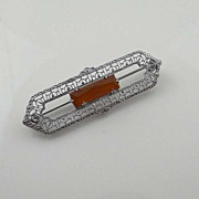 Vintage Art Deco Carnelian Filigree Rhodium Brooch Pin