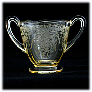 Fostoria June Topaz Etched Sugar Bowl Individual Vintage 1930s Elegant Glass