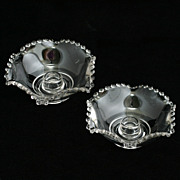 Imperial Glass Candlewick Flower Candle Holders Bowl Shape Pair