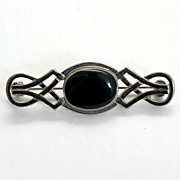 Celtic Style Bar Pin with Black Cabochon Center