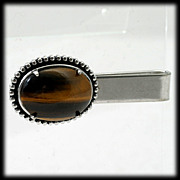 Tigers Eye Gemstone Vintage Tie Clip