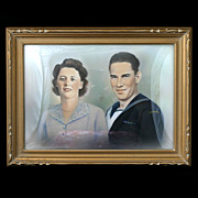 1940s Canadian Portrait of a Couple in a Gold Bubble Frame. Original Painting.