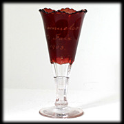 Ruby Stained EAPG Glass Souvenir Vase Antique 1905 State Fair C.A. Samuelson