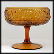 Amber Stelvia Italian Art Glass Stemmed Bowl Mid Century Modern Husted Design